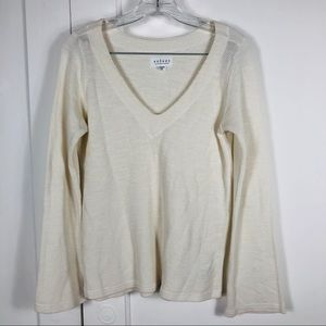 Velvet by Graham &Spencer Cream V Neck Sweater